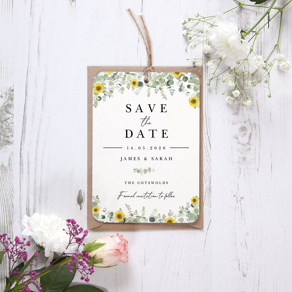 'Classic Eucalyptus Sunflower CE19' Hole-punched Save the Date