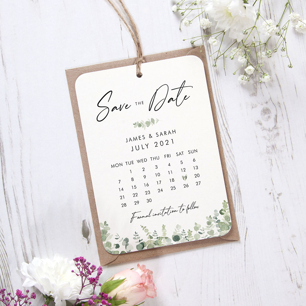 'Classic Eucalyptus Calendar CE12' Hole-punched Save the Date Sample