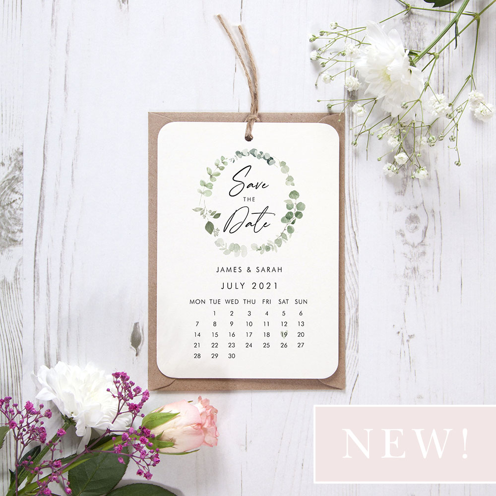 'Classic Eucalyptus Calendar CE13' Hole-punched Save the Date Sample