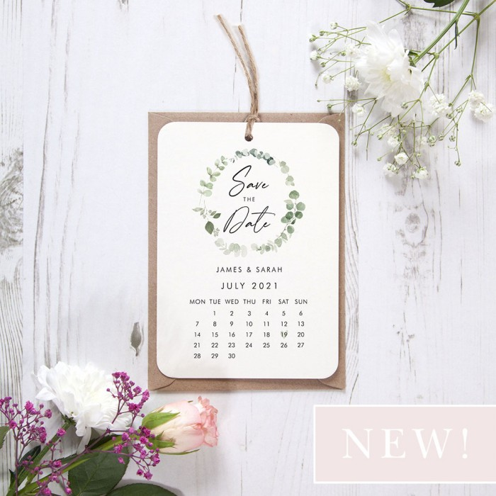 'Classic Eucalyptus Calendar CE13' Hole-punched Save the Date