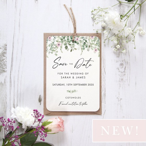 'Floral Classic Eucalyptus' Hole-punched Save the Date