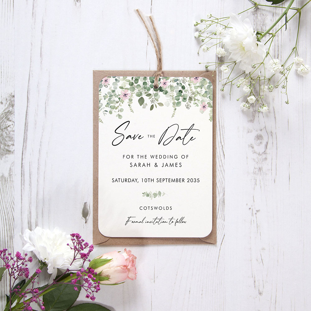 'Floral Classic Eucalyptus' Hole-punched Save the Date Sample