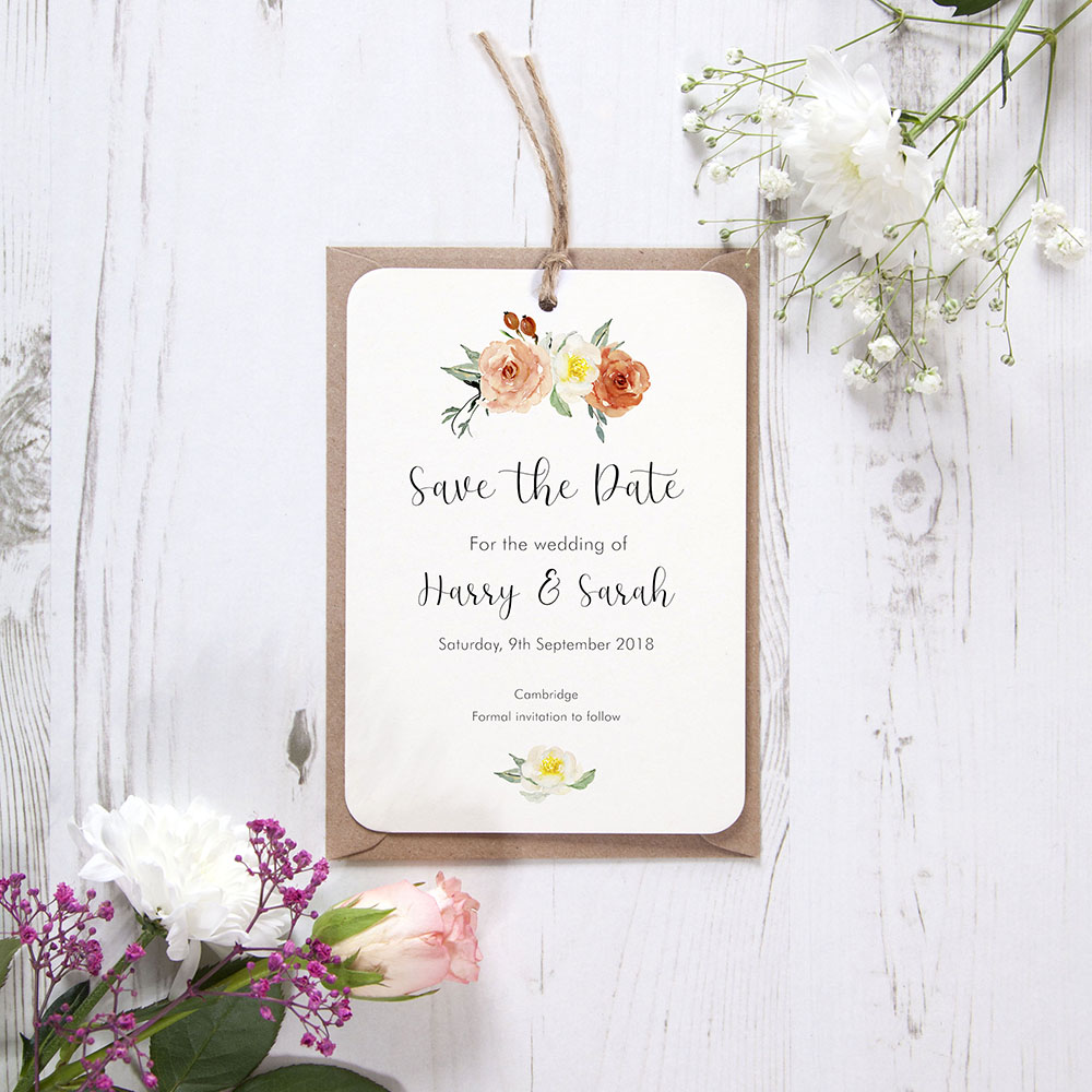 'Dahlia Rose' Hole-punched Save the Date