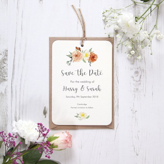 'Dahlia Rose' Hole-punched Save the Date Sample