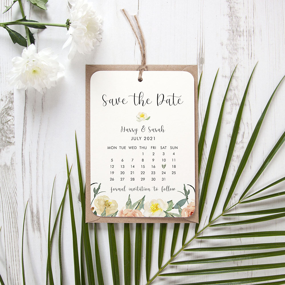'Dahlia Rose RD12' Hole-punched Save the Date