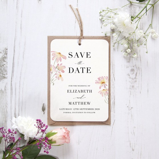 'Daisy Pink' Hole-punched Save the Date Sample
