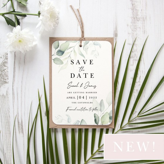 'Dreamy Eucalyptus DE10' Hole-punched Save the Date