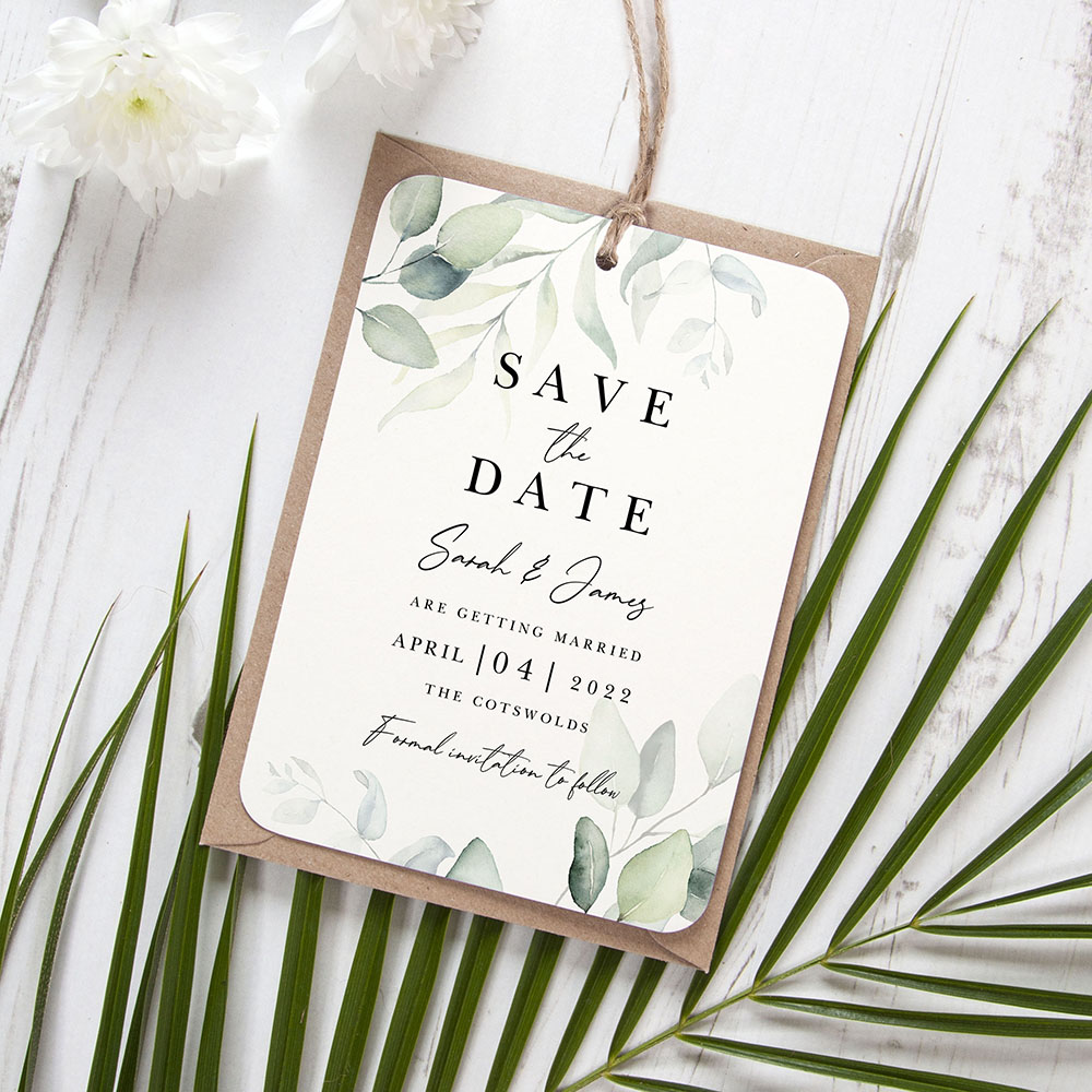 'Dreamy Eucalyptus DE10' Hole-punched Save the Date Sample