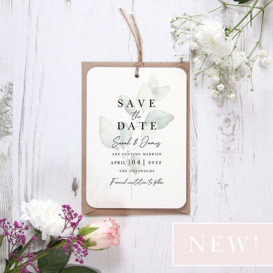 'Dreamy Eucalyptus DE11' Hole-punched Save the Date