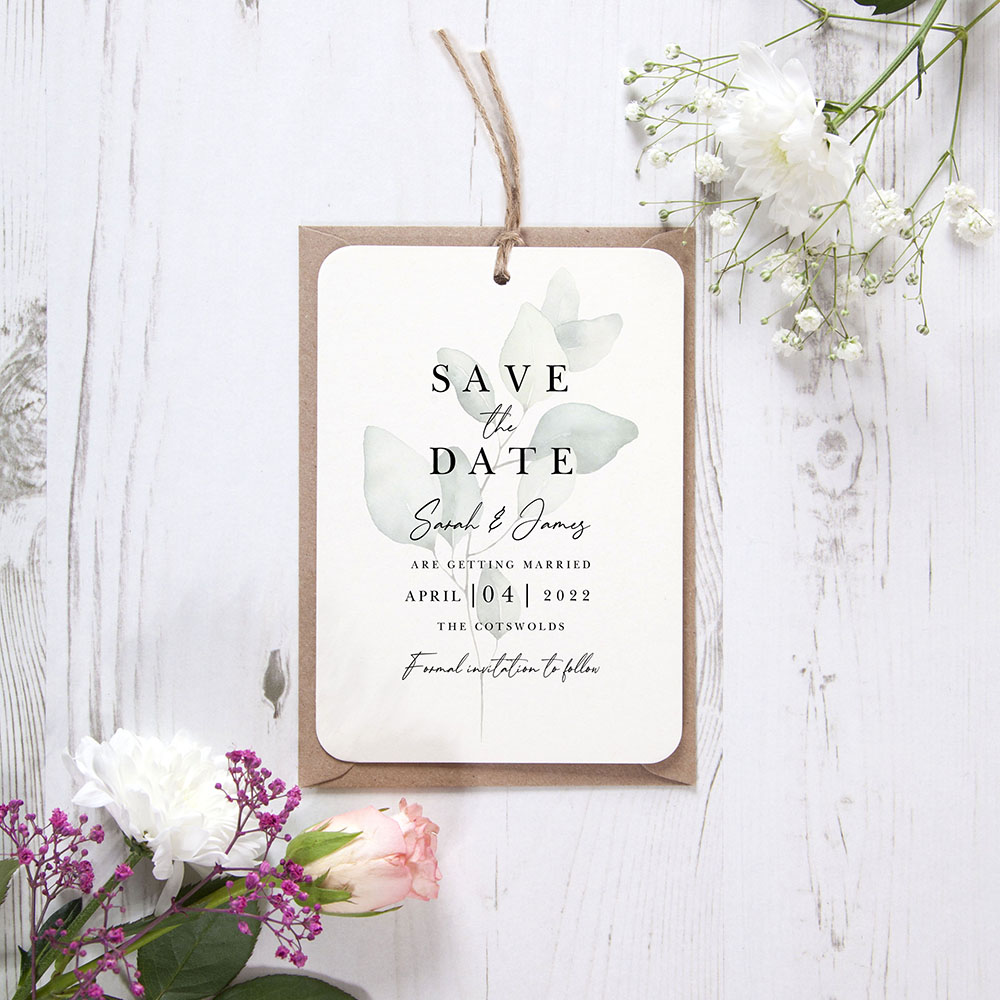 'Dreamy Eucalyptus DE11' Hole-punched Save the Date Sample
