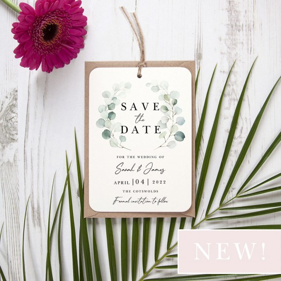'Dreamy Eucalyptus DE12' Hole-punched Save the Date Sample