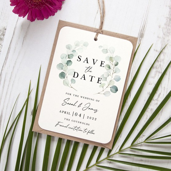 'Dreamy Eucalyptus DE12' Hole-punched Save the Date