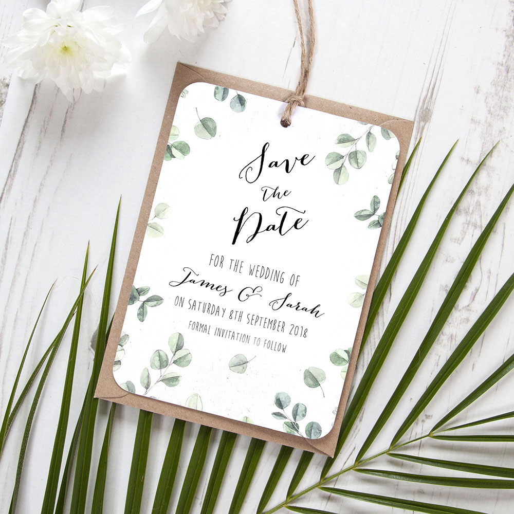 'Eucalyptus' Hole-punched Save the Date