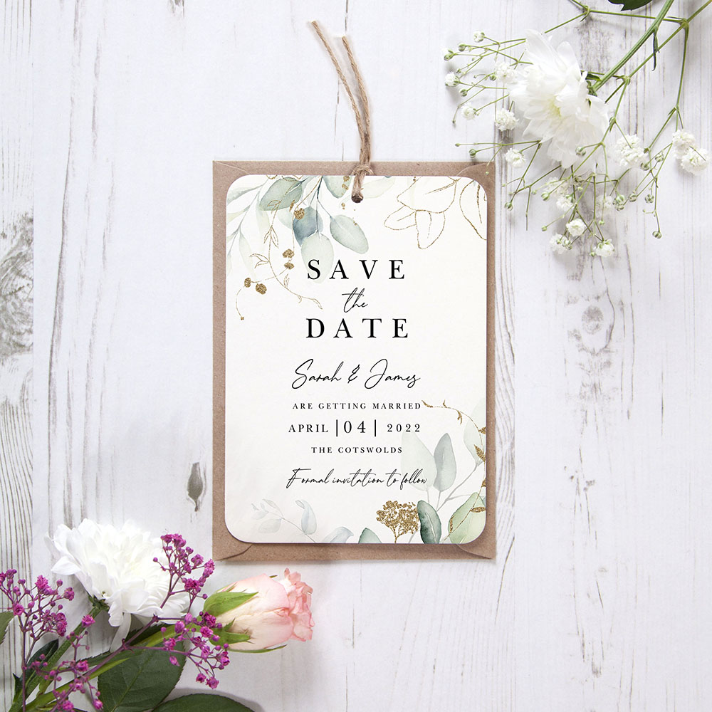 'Green & Gold Eucalyptus EG10' Hole-punched Save the Date Sample