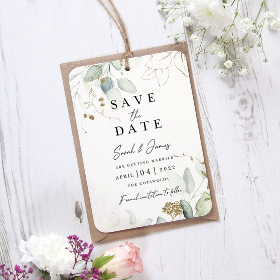 'Green & Gold Eucalyptus EG10' Hole-punched Save the Date