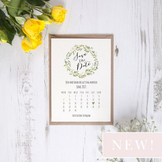 'Green Floral Calendar GF12' Hole-punched Save the Date