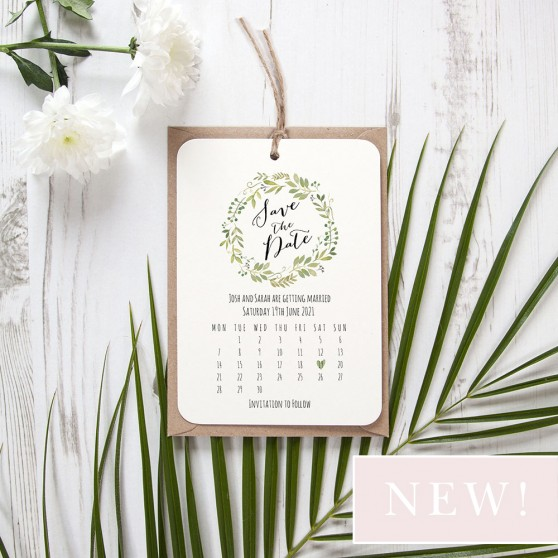 'Green Floral Calendar GF13' Hole-punched Save the Date Sample