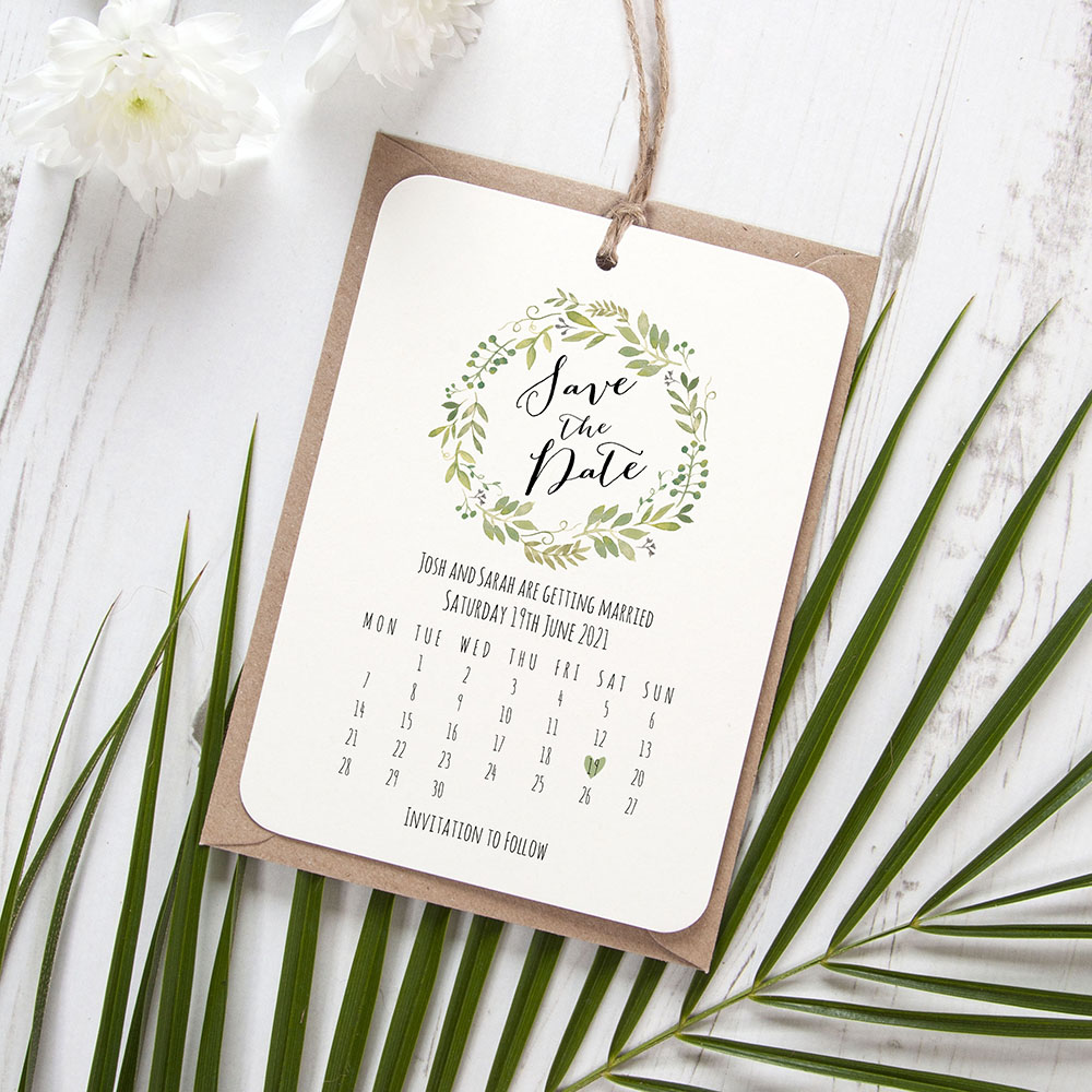 'Green Floral Calendar GF13' Hole-punched Save the Date