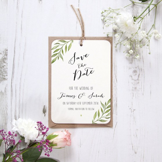 'Green Leaf' Hole-punched Save the Date Sample