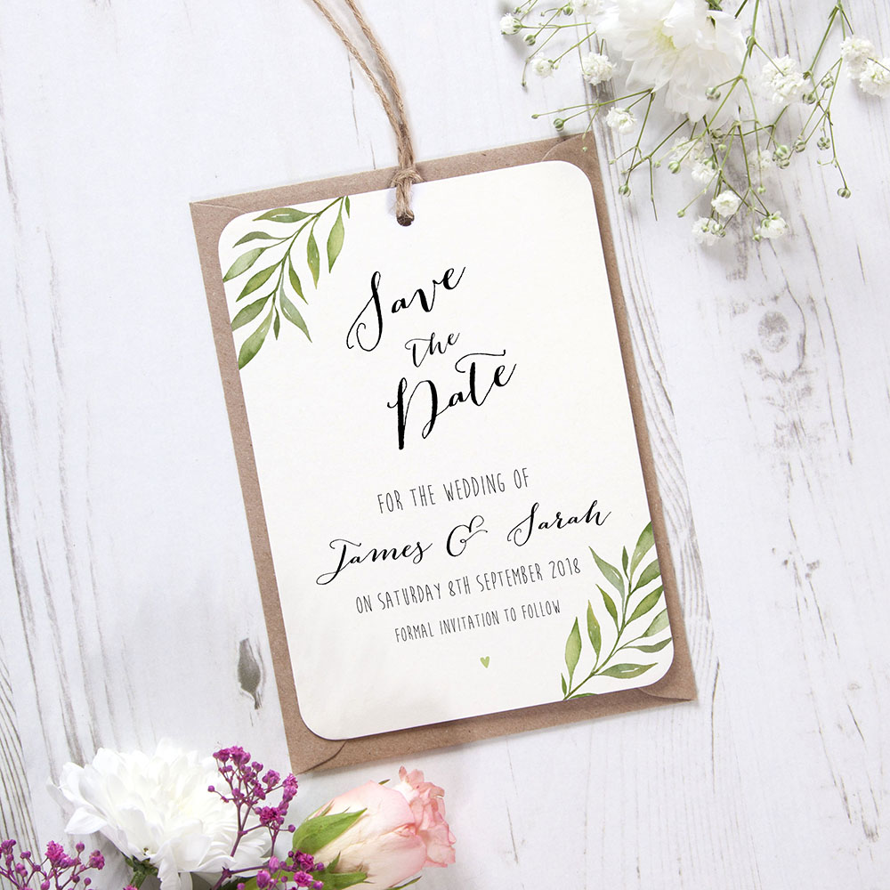 'Green Leaf' Hole-punched Save the Date