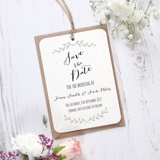 'Green Plant' Hole-punched Save the Date Sample