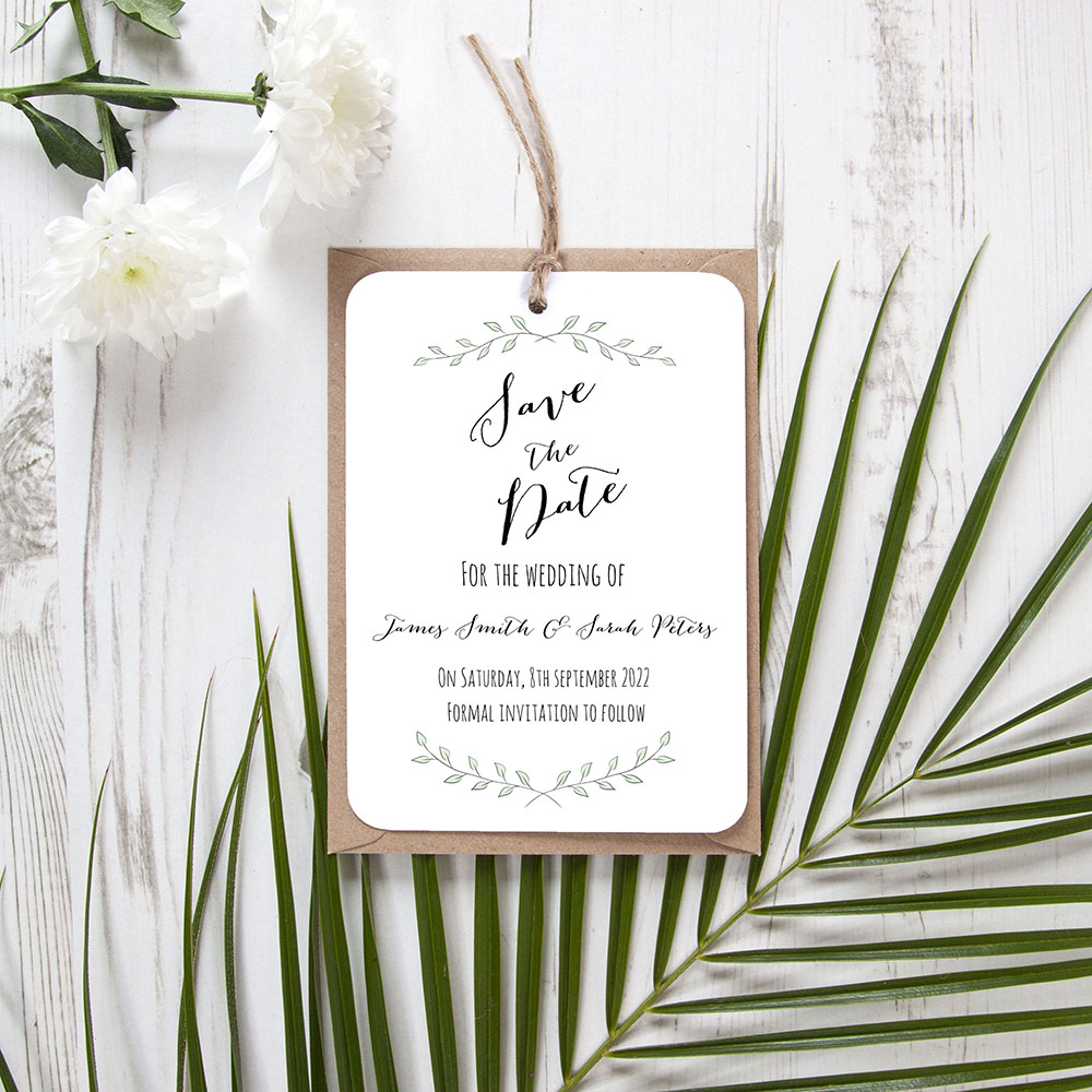 'Green Plant' Hole-punched Save the Date