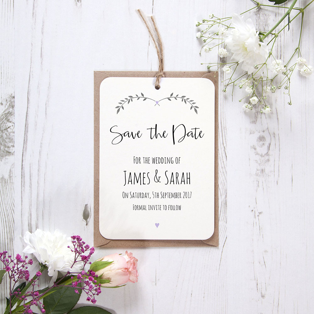'Lavender Ivy Design' Hole-punched Save the Date Sample
