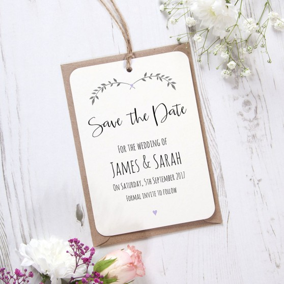 'Lavender Ivy Design' Hole-punched Save the Date