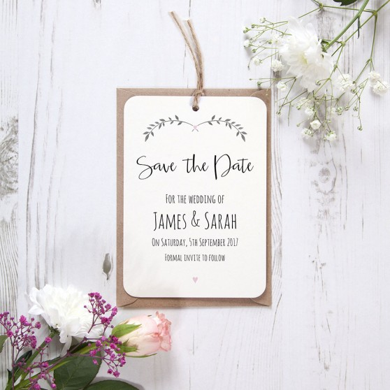 'Pink Ivy Design' Hole-punched Save the Date Sample