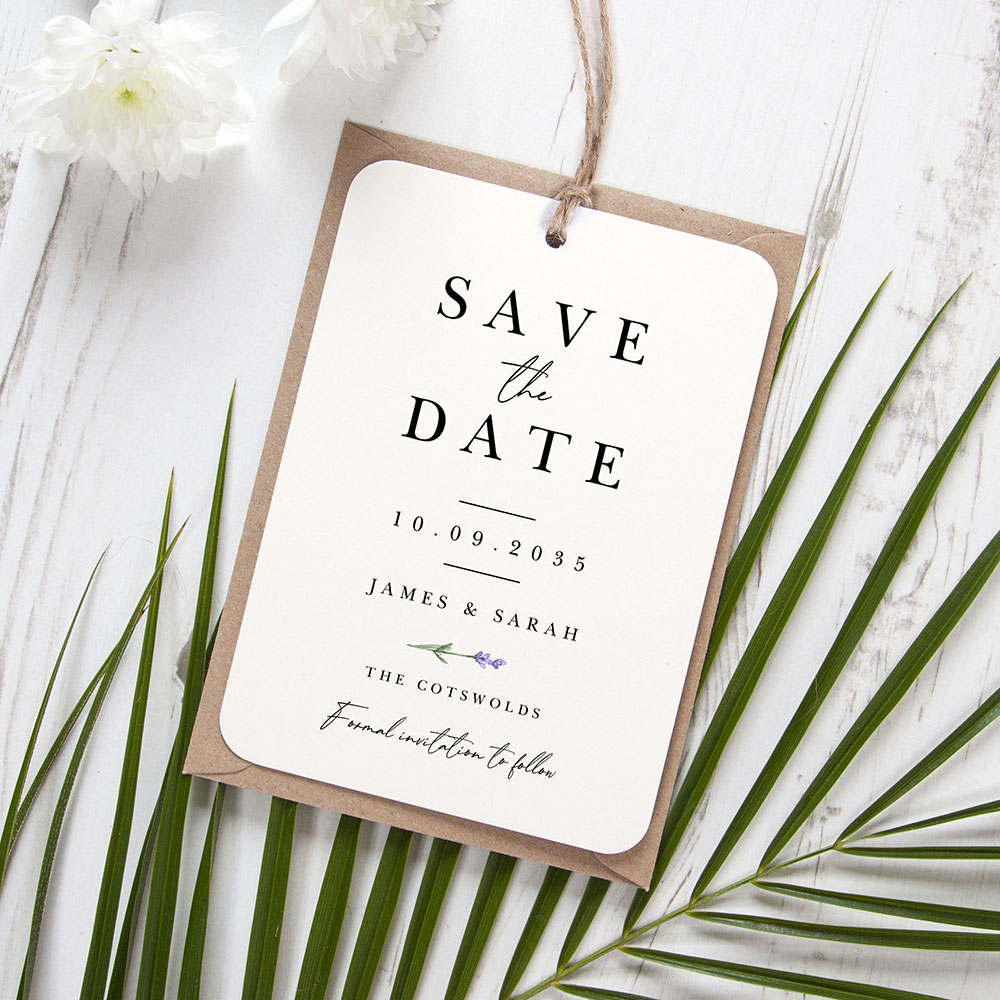 'Lavender L12' Hole-punched Save the Date