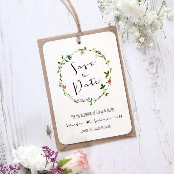 'Meadow Floral' Hole-punched Save the Date