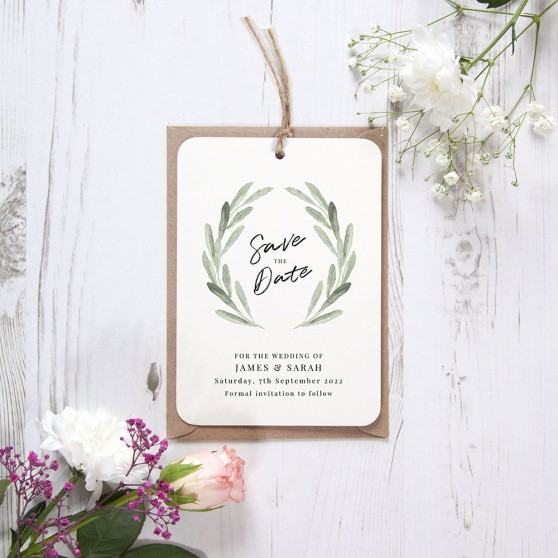 'Olive' Hole-punched Save the Date