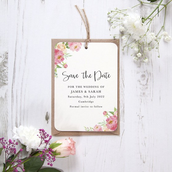 'Peony' Hole-punched Save the Date Sample