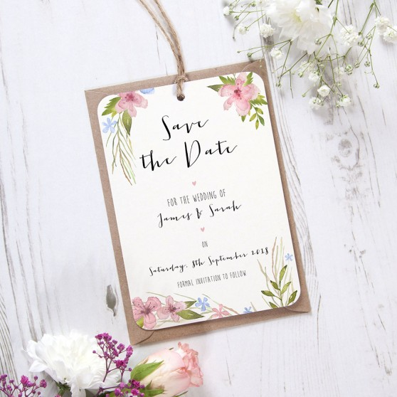 'Pretty in Blue & Pink' Hole-punched Save the Date Sample