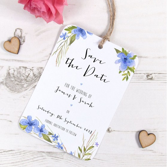 'Pretty in Blue' Hole-punched Save the Date