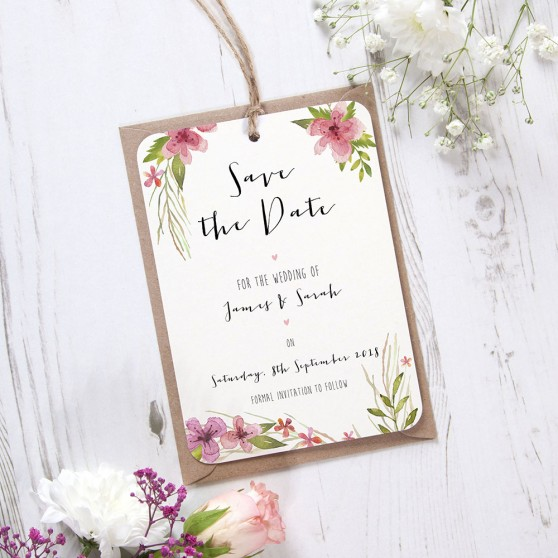 'Pretty in Pink' Hole-punched Save the Date Sample