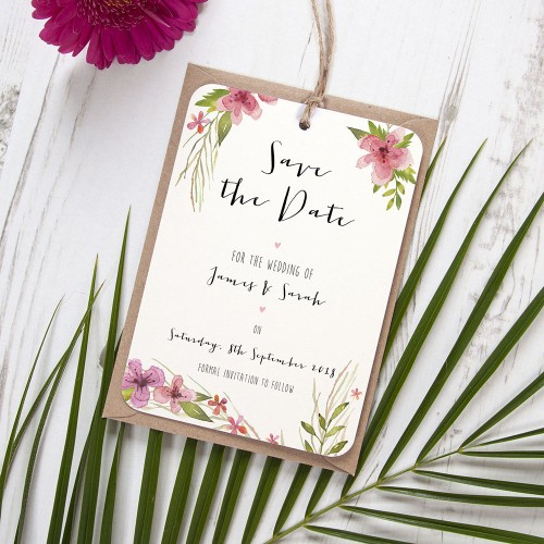 'Pretty in Pink' Hole-punched Save the Date