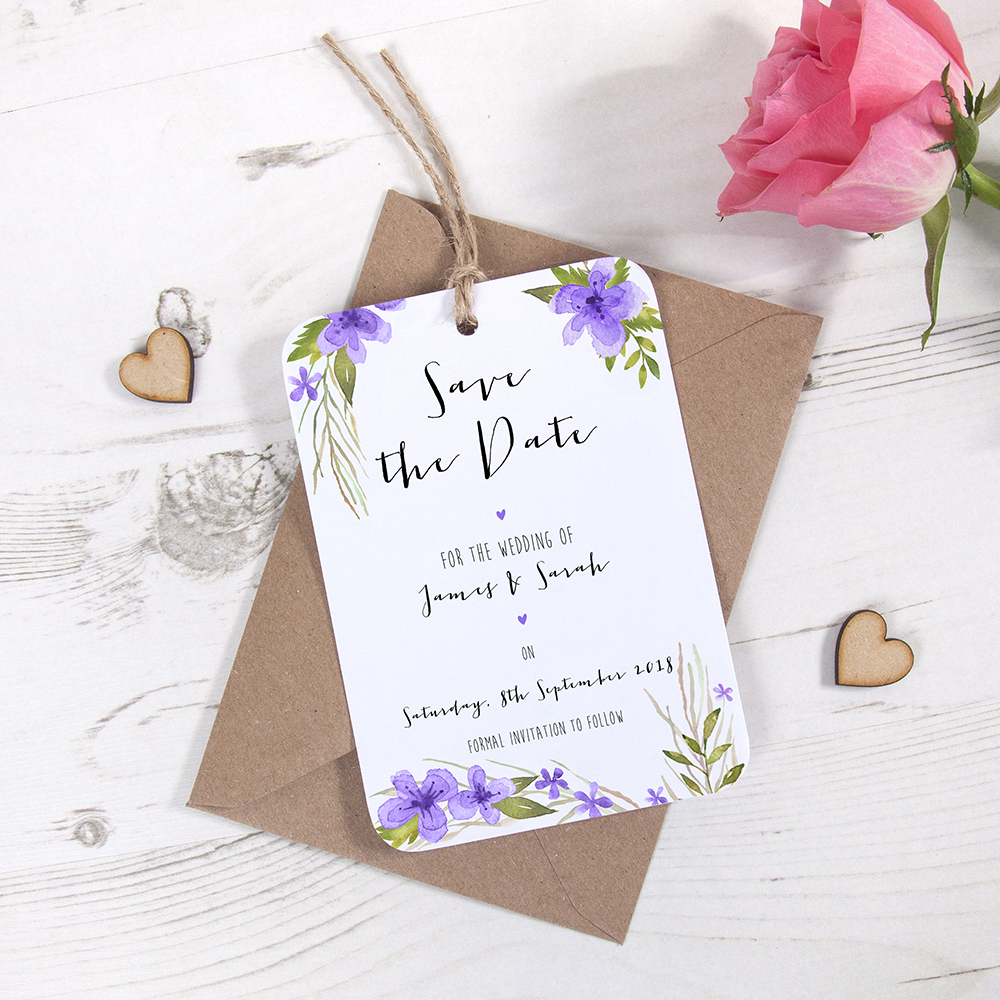 'Pretty in Purple' Hole-punched Save the Date Sample
