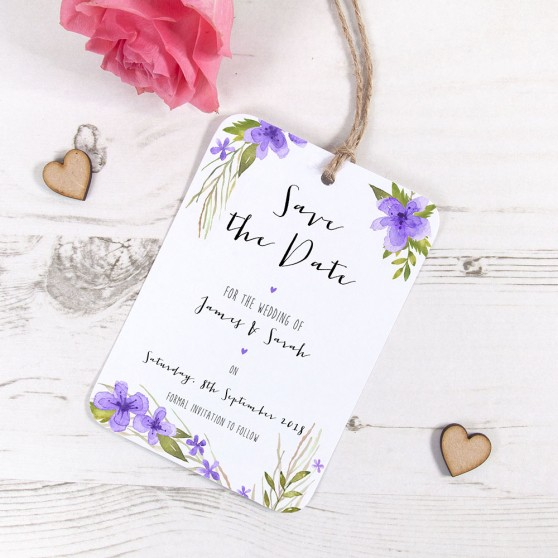 'Pretty in Purple' Hole-punched Save the Date