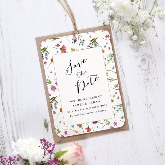 'Wild Floral Multi' Hole-punched Save the Date