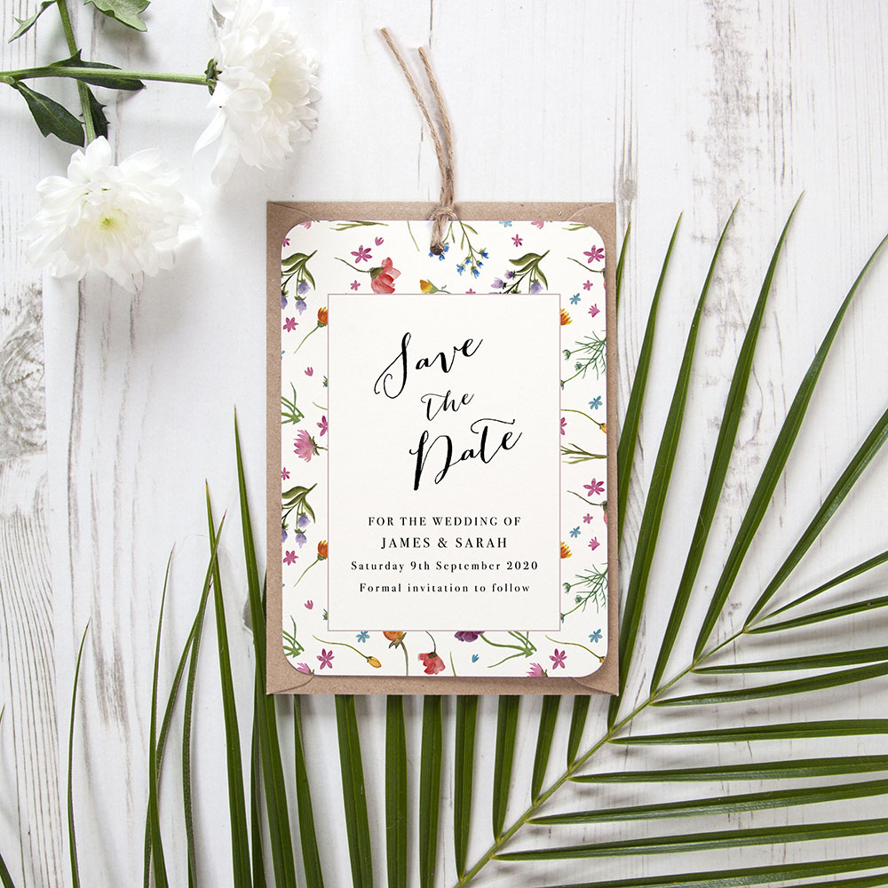 'Wild Floral Multi' Hole-punched Save the Date Sample