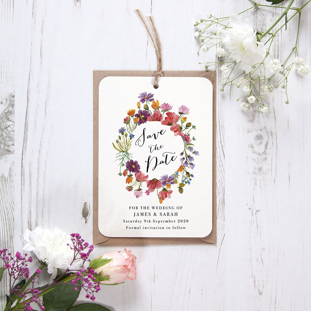 'Wild Floral Wreath' Hole-punched Save the Date