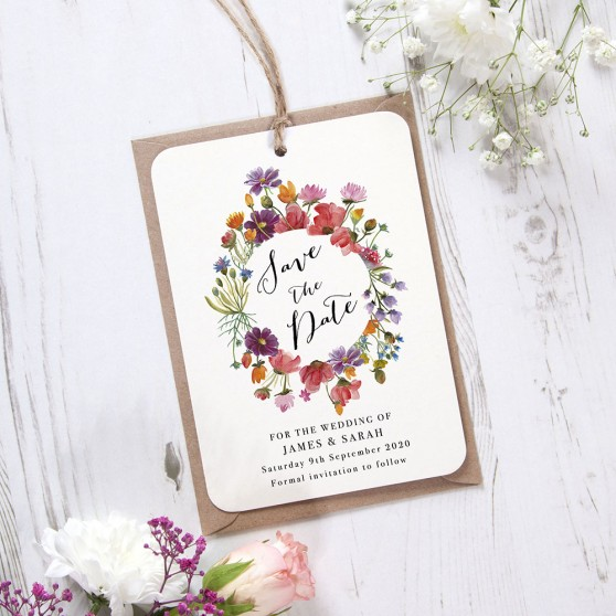 'Wild Floral Wreath' Hole-punched Save the Date Sample