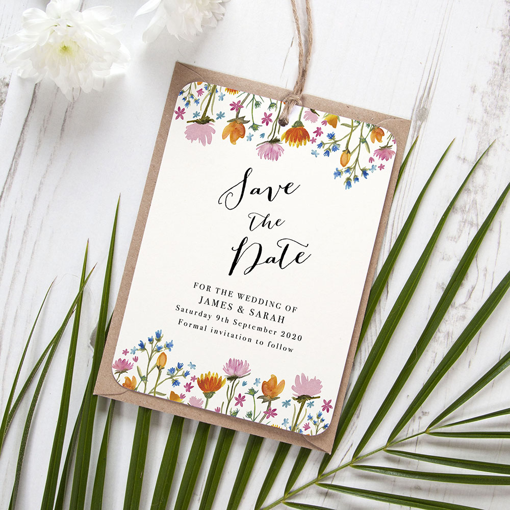'Wild Floral' Hole-punched Save the Date Sample