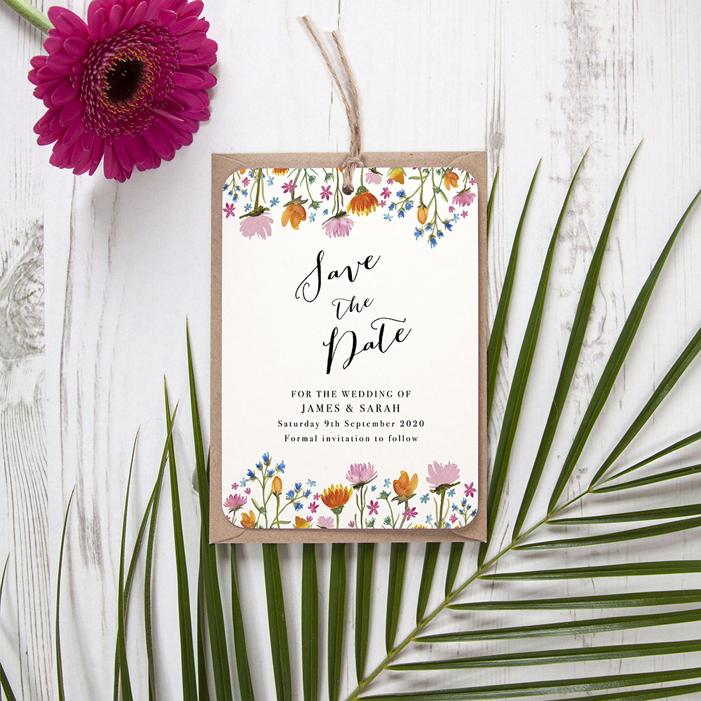 'Wild Floral' Hole-punched Save the Date