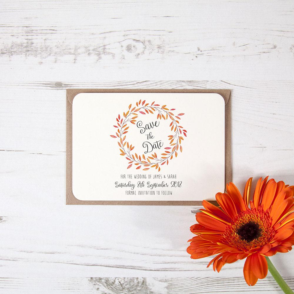 'Autumn Orange' Save the Date Sample