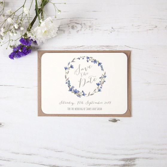 'Blue Floral Watercolour' Save the Date