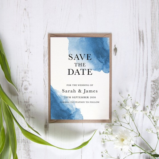'Blue Watercolour Splash' Save the Date Sample