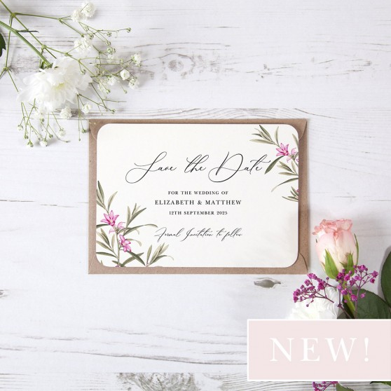 'Pink Botanical PB10' Save the Date Sample