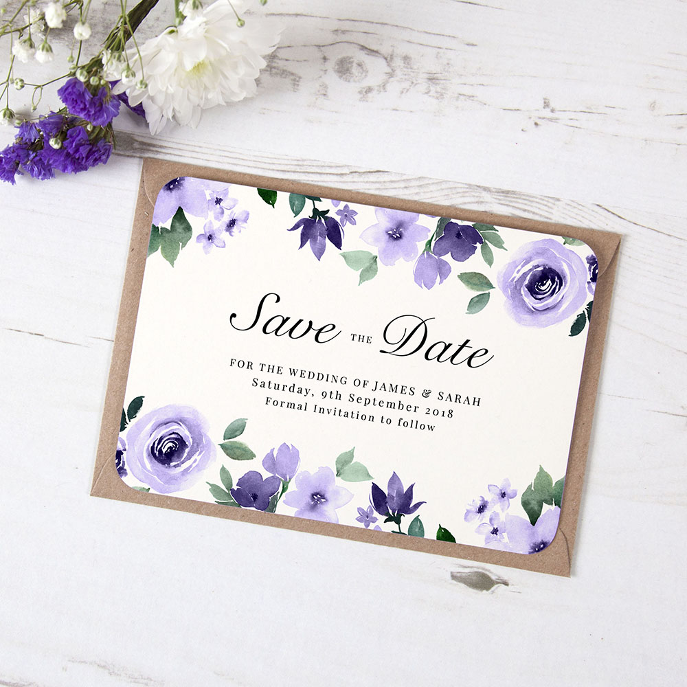'Camilla Purple' Save the Date Sample